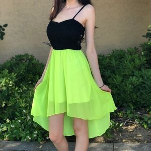 Black and Yellow/Green High Low Summer Dress